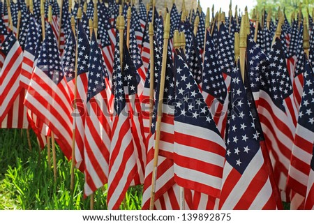 Flag Decorations for Memorial Day Holiday - stock photo