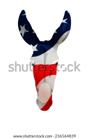 Flag displacement map placed over the Democrat donkey symbol. Isolated on white with a clipping path. - stock photo