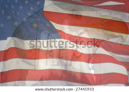 Flag, Eagle, Lincoln Monument. Composite of three photos taken by the author. - stock photo