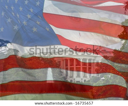 Flag, Eagle, White House. Composite of three photos taken by the author. - stock photo