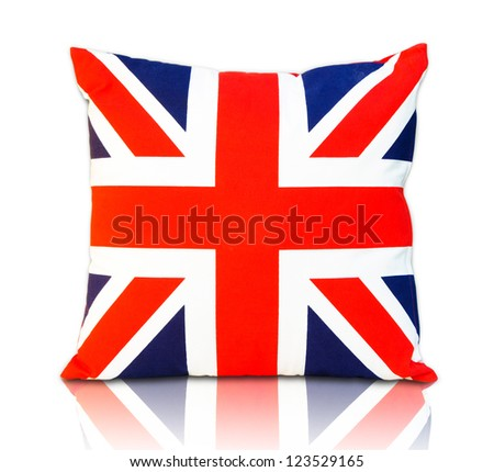 Flag england pillow , Flag england Scatter cushion isolated on white. - stock photo