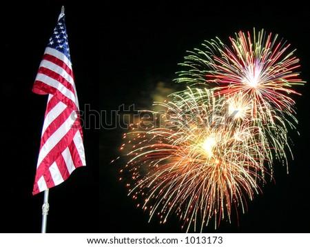 Flag Fireworks 2 - stock photo