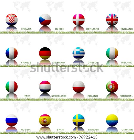 Flag football  of european competition on the soccer ball on white background. - stock photo