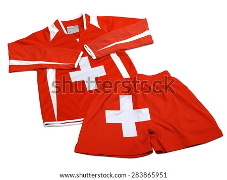 Flag from Switzerland on polyester nylon soccer sportswear shorts and sweet shirt isolated on white ( clipping path )
