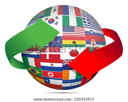 flag globe and arrows illustration design over white