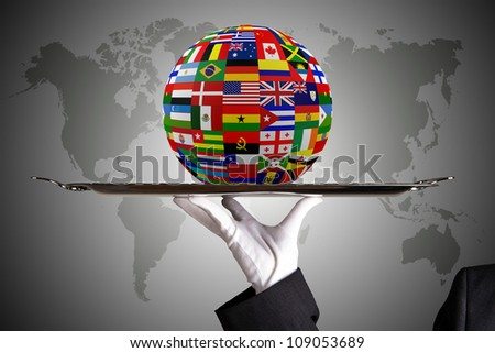 Flag Globe with different country flags - stock photo