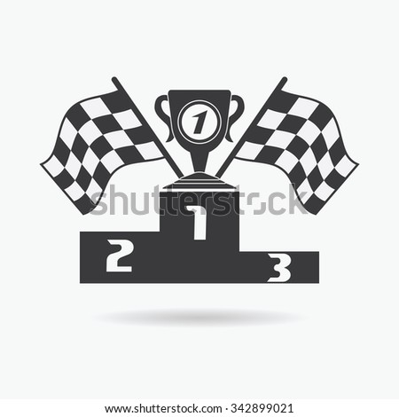 Flag icon. Checkered or racing flags first place prize cup and winners podium. Sport auto, speed and success, competition and winner, race rally, illustration.