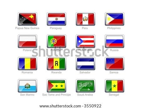 Flag icon set (part 9) - stock photo