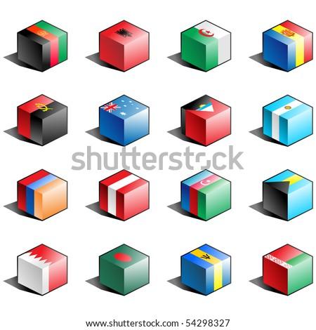 Flag icon set (part 1) Afghanistan, Albania, Algeria, Andorra, Angola, Australia, Antigua and Barbuda, Argentina, Armenia, Austria, Azerbaijan, Bahamas, Bahrain, Bangladesh, Barbados, Belarus - stock photo