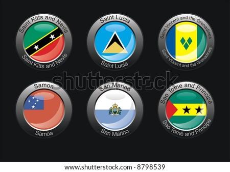 Flag icon set (part 25 – Saint Kitts and Nevis, Saint Lucia, Saint Vincent and the Grenadines, Samoa, San Marino, Sao Tome and Principe) - stock photo