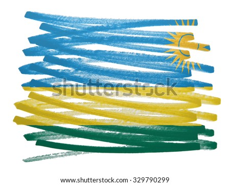 Flag illustration made with pen - Rwanda