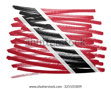 Flag illustration made with pen - Trinidad and Tobago - stock photo