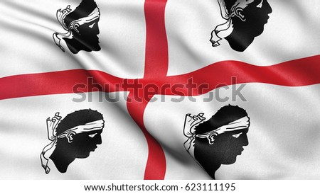 Flag illustration of Sardinia waving in the wind.