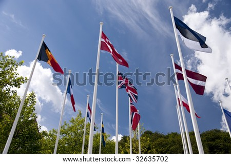 flag in front of blue sky