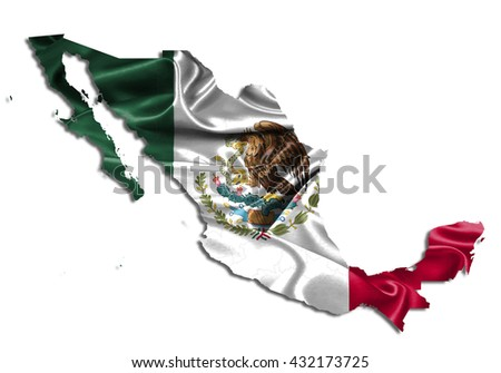 Flag map-mexico country on white background. - stock photo