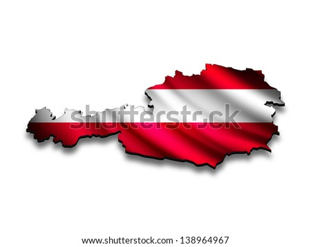 Flag map of Austria in perspective. Waving Austrian flag clipped in country shape.