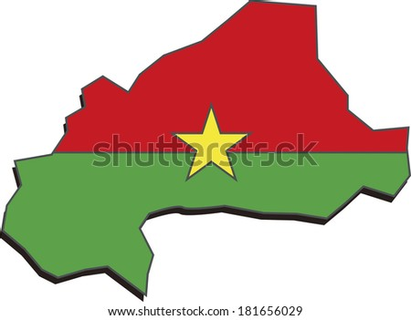 Flag map of Burkina Faso