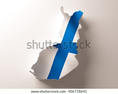 Flag map of Finland on white background. 3d illustration. - stock photo
