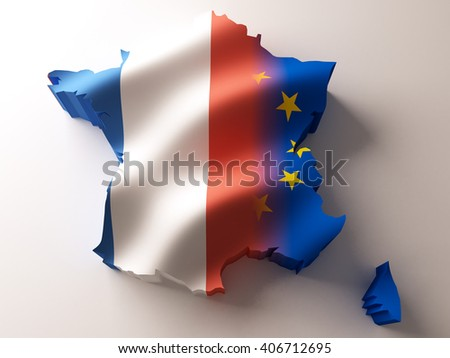Flag map of France and European Union on white background. 3d illustration. - stock photo