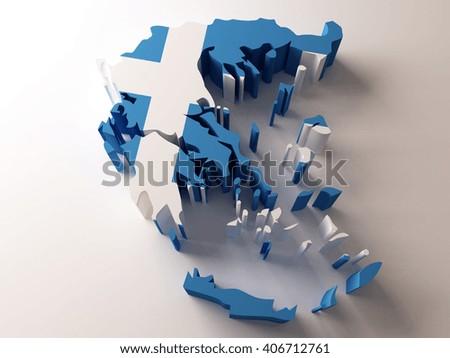Flag map of Greece on white background. 3d illustration. - stock photo