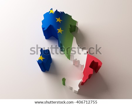 Flag map of Italy and European Union on white background. 3d illustration - stock photo