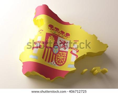 Flag map of Spain on white background. 3d  illustration. - stock photo