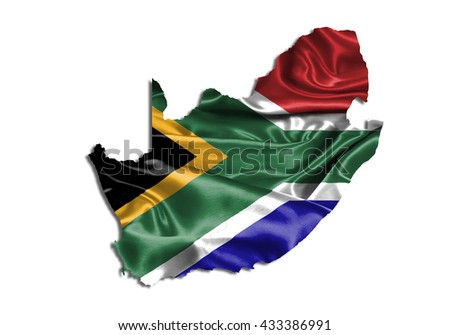 Flag map-south Africa country on white background. - stock photo