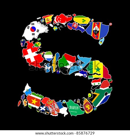 Flag maps and flag badges of all the countries in the world starting with the letter S make up the letter S. - stock photo