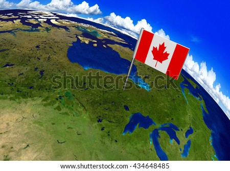 Flag marker over country of Canada on world map 3D rendering, parts of this image furnished by NASA - stock photo