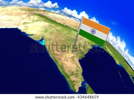 Flag marker over country of India on world map 3D rendering, parts of this image furnished by NASA - stock photo