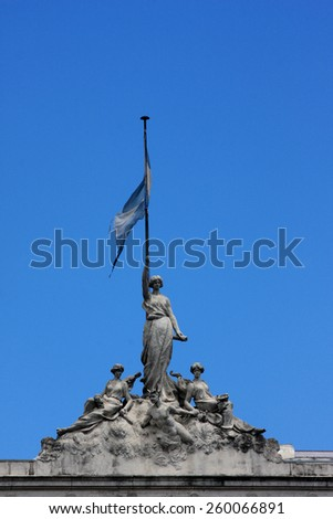 Flag nacional of Agrentina on unknown old architecture building in Buenos Aires - Capital Federal - stock photo