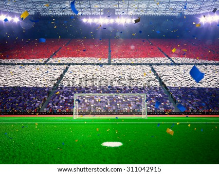 Flag Netherlands of fans! Evening stadium arena soccer field championship win! Confetti and tinsel - stock photo