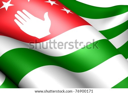 Flag of Abkhazia. Close up.