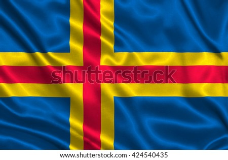 Flag of Aland islands - stock photo