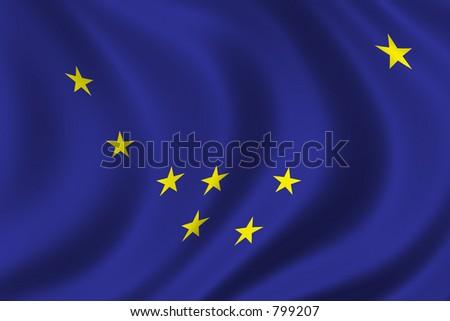Flag of Alaska waving in the wind - stock photo