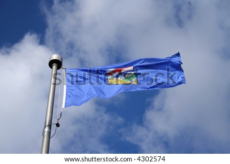 Flag of Alberta fluttering in the wind