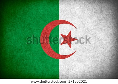 flag of Algeria or Algerian banner on paper rough pattern texture