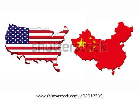 Flag America China Form Map On Stock Illustration - Map of us and china