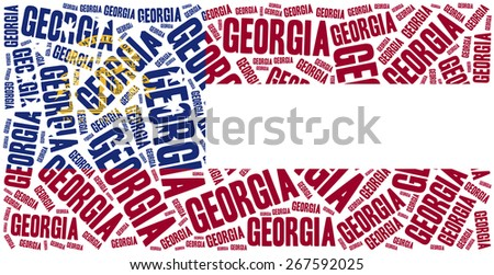 Flag of American state - Georgia. Word cloud illustration. - stock photo
