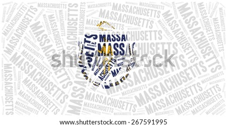 Flag of American state - Massachusetts. Word cloud illustration. - stock photo