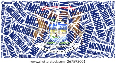 Flag of American state - Michigan. Word cloud illustration. - stock photo