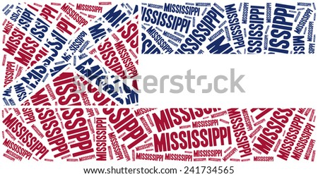 Flag of American state - Mississippi. Word cloud illustration. - stock photo