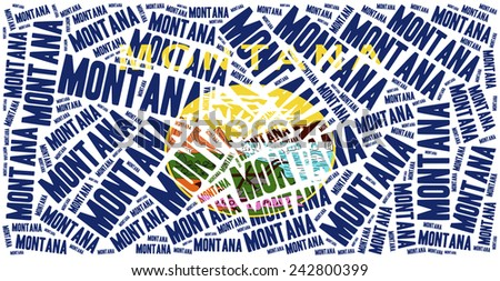 Flag of American state - Montana. Word cloud illustration. - stock photo