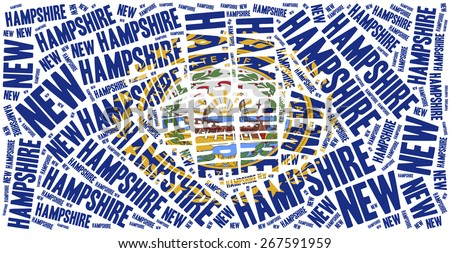 Flag of American state - New Hampshire. Word cloud illustration. - stock photo