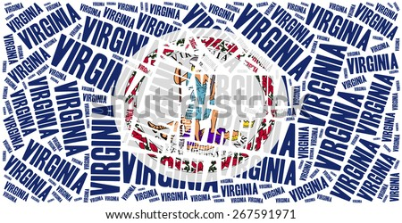 Flag of American state - Virginia. Word cloud illustration. - stock photo
