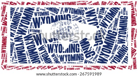 Flag of American state - Wyoming. Word cloud illustration. - stock photo