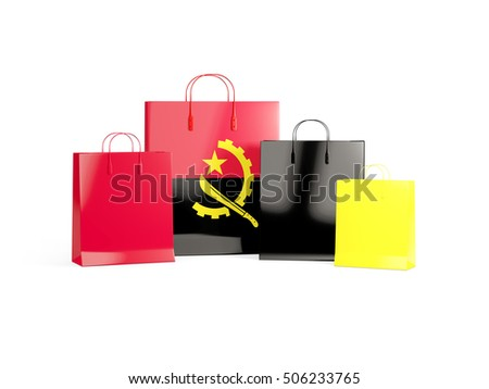 Flag of angola on shopping bags. 3D illustration