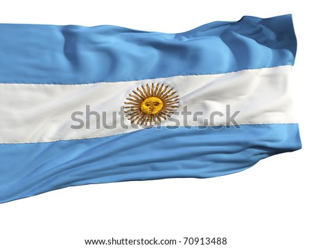 Flag of Argentina, fluttering in the wind. Sewn from pieces of cloth, a very realistic detailed flags waving in the wind, with the texture of the material, isolated on a white background - stock photo