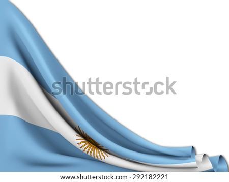 Flag of Argentina moved to make room on  white background - stock photo