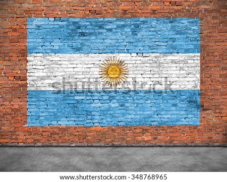 Flag of Argentina painted on old brick wall - stock photo